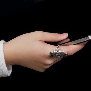 Image 4 - V. ya retro 925 prata esterlina anéis ajustáveis para mulher letra s femme feminino anel marcasite jóias