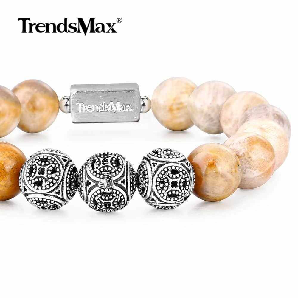 Beaded Bracelet Natural Stone Gemstone Stretch 925 Sterling Silver Link Women Men Jewelry Gifts Chrysanthemum 10/12MM TBB00508