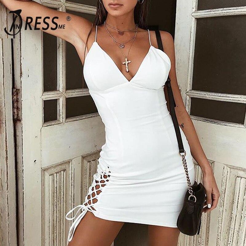 Out 2018 Indressme Lacets Parti À Profonde V Club Strap Dress De White D'été Mode Robe Creux Robes Femmes Sexy Spaghetti RdwqdP