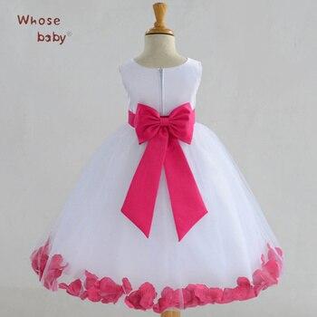 Bên Cô Gái Váy Công Chúa Trẻ Sơ Sinh Ăn Mặc Flower Petal Quần Áo Trẻ Em Với Bow Không Tay Voan Wedding Kids Dresses For Girls