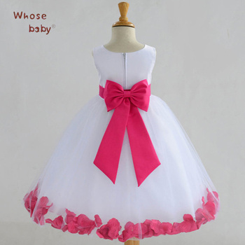 Party Girls Dress Princess Infant Dress Flower Petal Children Clothes With Bow Sleeveless Chiffon Wedding Kids Dresses For Girls