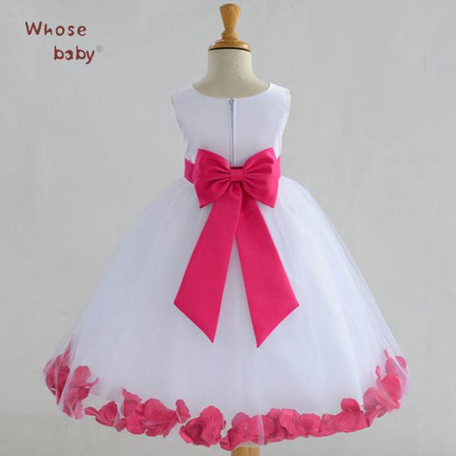 Vestidos de las muchachas de Princesa Del Partido Del Bebé Vestido de La Rodilla-longitud de la Ropa de La Muchacha Sin Mangas de Novia de Gasa Vestidos de Los Cabritos Ropa de Niños