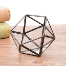 Wedding Decorations Hexagonal Geometric Ring Box For Glass Transparent Golden Jewelry Unique  Home Decoration