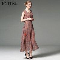 PYJTRL 2018 100% Real Silk Women Vintage Print Dress Elegant Fashion Casual V neck Sleeveless Summer Dress