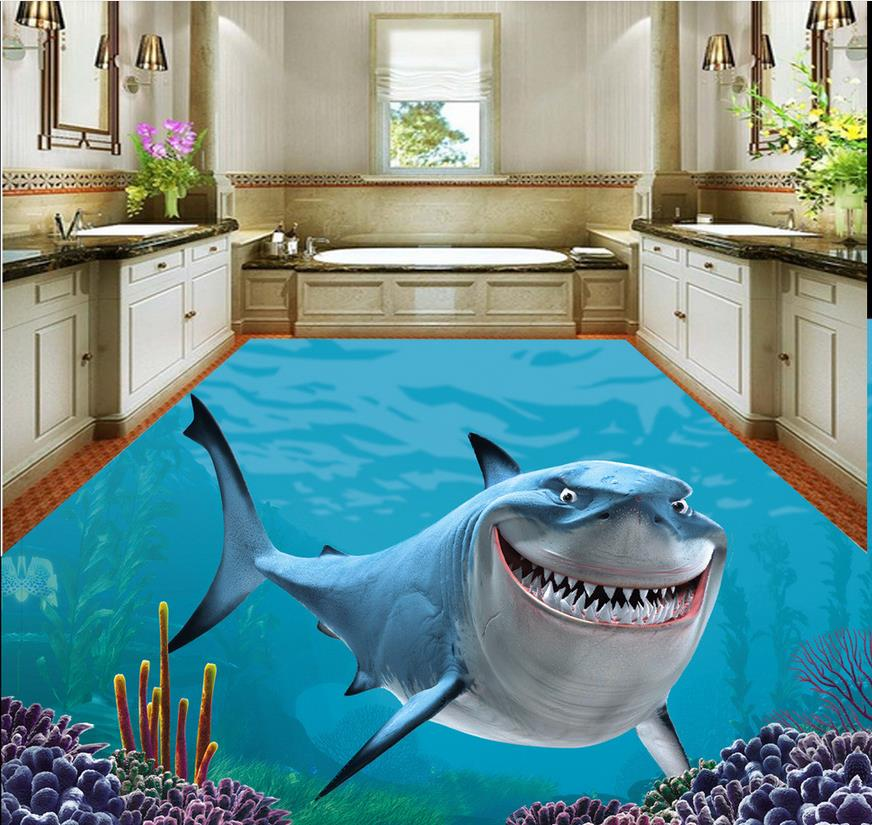 Home Decoration 3d flooring 3D Stereo Sea World Shark Floor Painting pvc wallpaper 3d wallpaper for floor customized 3d wallpaper 3d pvc floor painting wallpaper sea fish 3d floor tile beauty 3d wall murals room decoration