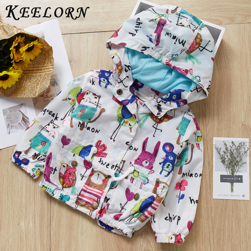Keelorn Fashion Baby Girls Coats 2019 Autumn Baby Jacket Hooded Graffiti Printing Baby Outerwear&Coats Newborn Jacket Coats