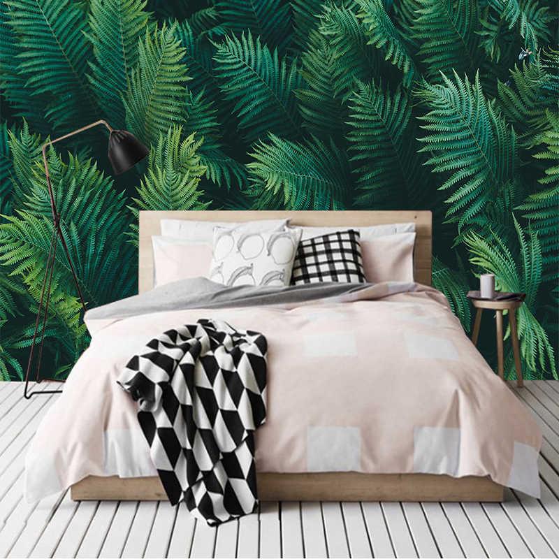 Nach Jeder Größe Wand Tapete 3D Stereo Grüne Blätter Wälder Fresko Wohnzimmer Studie Restaurant Hintergrund Wand Malerei Decor
