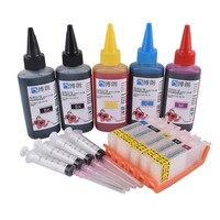 PGI-650 재충전 용 잉크 카트리지 canon ip7260 용 mg5460 mx726 mx926 mg6460 mg5560 ix6860 + dey 잉크 5 색 범용 500 ml
