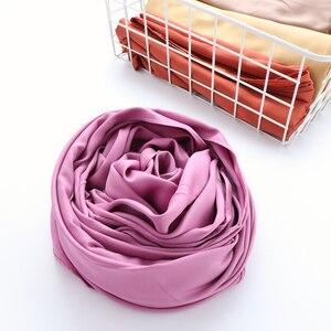 Image 4 - One piece solid plain shinny hijab scarf islam shawl head wraps soft silk feeling long muslim hijab malaysia satin plain hijabs