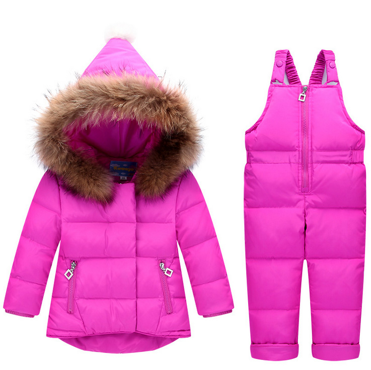 2017 Winter Clothing Kids boy girl toddler fur jacket parkas Snow suits Jackets+bib Pants overall 2pcs/set for baby boy girl