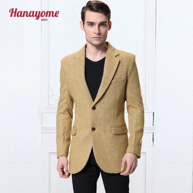 2016 новое желтое 100% шерсть елочка ретро джентльмен стиль, костюмы портной пиджак, деловой Костюм Пиджаки Бесплатная доставка