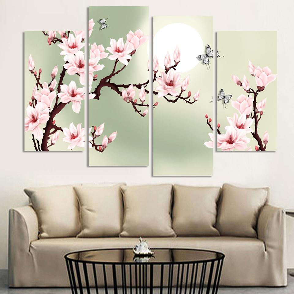 4 Stck Leinwand Grn Rosa Dekoration Von Orchideen Malerei Wandbilder Fr Wohnzimmer Moderne Blumenbilder Ungerahmt