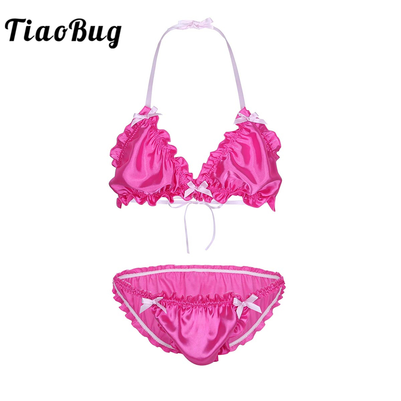 YiZYiF Mens Sissy Halter Satin Frilly Ruffled Nightwear Lingerie Set Girly Underwear