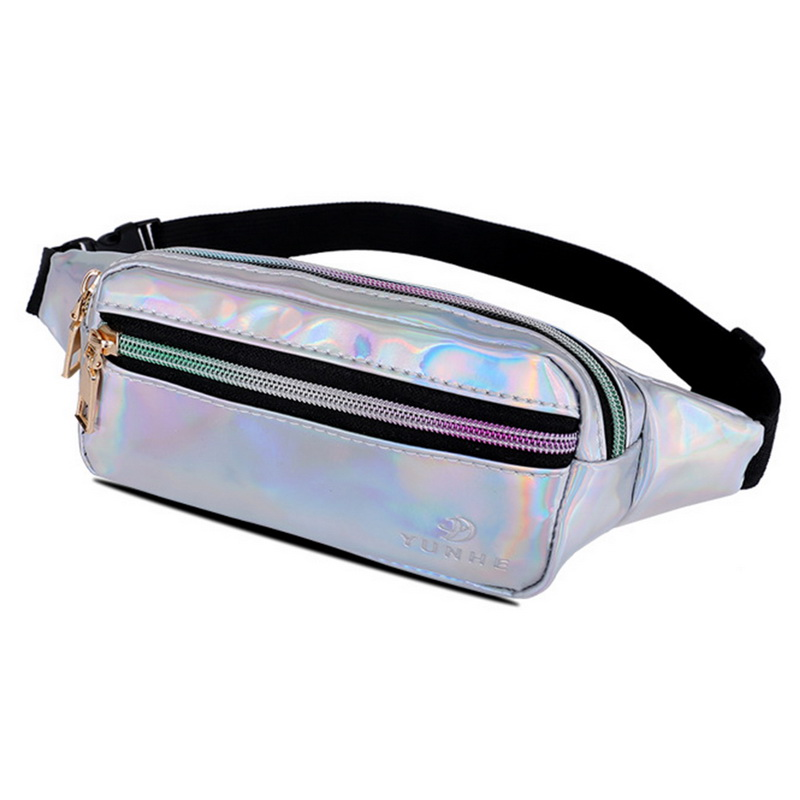 Holographic   Slim Shiny Neon Waist Bag  Waterproof Bum Bag Travel Hip Bags for Womens Girls Christmas Gifts holographic belt purse