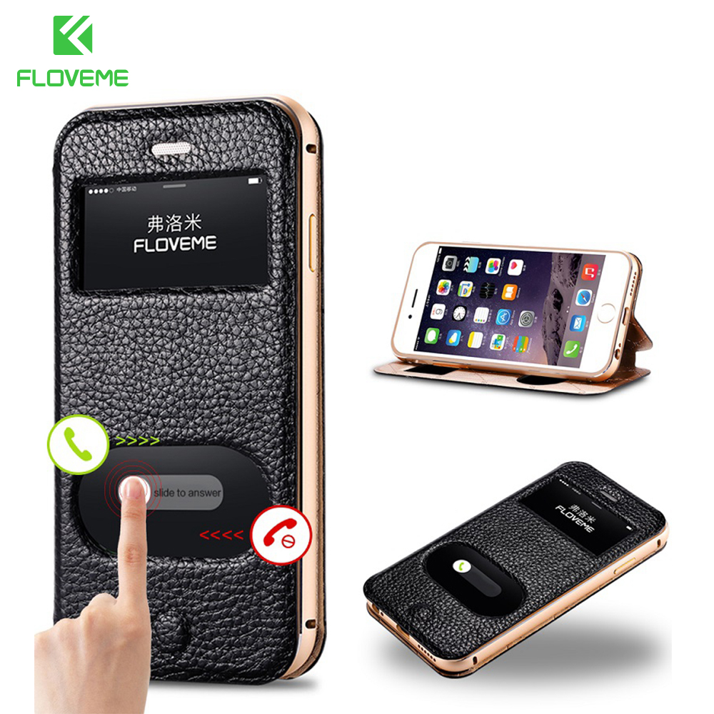 FLOVEME Original View Window Flip Leather Case For iPhone