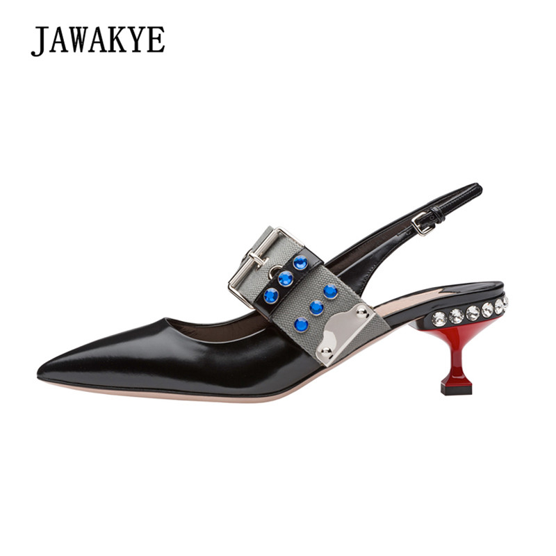 Newest Patent Leather High Heel Shoes Women Pointed Toe Rhinestone Shallow Mouth Mary janes Pumps Lady Wedding Shoes new spring fashion brand genuine leather sweet classic high heels women pumps shallow thick heel mary janes lady causal shoes