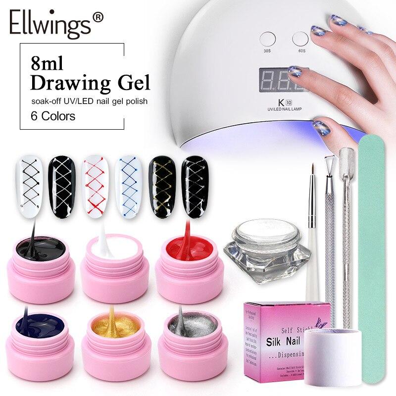 Ellwings 24 w UV Lampe Sèche-13 pcs Nail Gel Polonais Creative Fil Dessin Peinture Nail Gel Nail Varinsh Kit pour Nail Art Outils