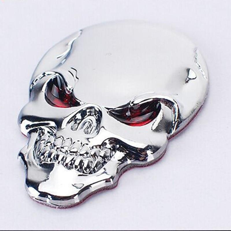 * DSYCAR 3D Metal Skull Moto Car stickers Logo Logo Emblem Badge Car - Ավտոմեքենայի արտաքին պարագաներ - Լուսանկար 3