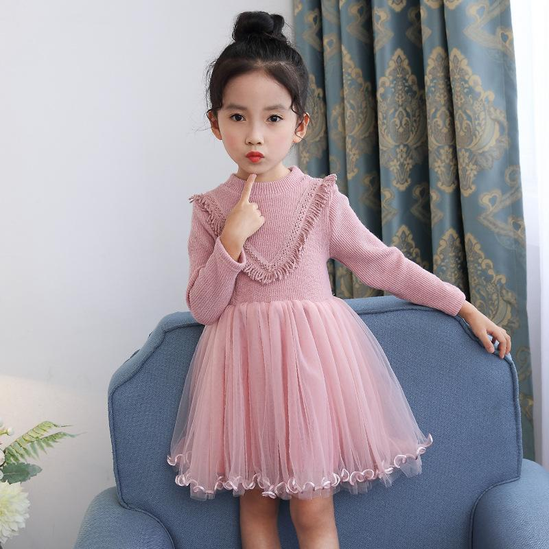 Girls Tutu Dress 2017 New Spring Autumn Children Princess Dress Long Sleeve Casual Kids Dresses for Girls Pink Green girls dress winter 2016 new children clothing girls long sleeved dress 2 piece knitted dress kids tutu dress for girls costumes