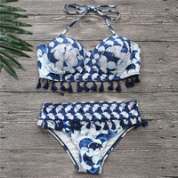 d85d28d70d Bikinis Women Blue Bandage Swimsuit 2018 Sexy Push Up Swimwear Print Fringe Bikini  Beach Bathing Suit Halter Bikinis Suit Swim