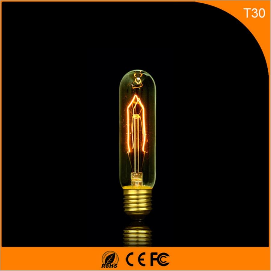 50Pcs Vintage Design Edison Filament E27 B22 LED Bulb ,T30 25W Energy Saving Decoration Lamp Replace  Incandescent Light AC220V 50pcs vintage design edison filament e27 b22 led bulb g95 25w energy saving decoration lamp replace incandescent light ac220v