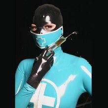 Латексная униформа медсестры маска сексуальный фетиш резиновый капюшон из латекса молния сзади 0,6 мм толщина