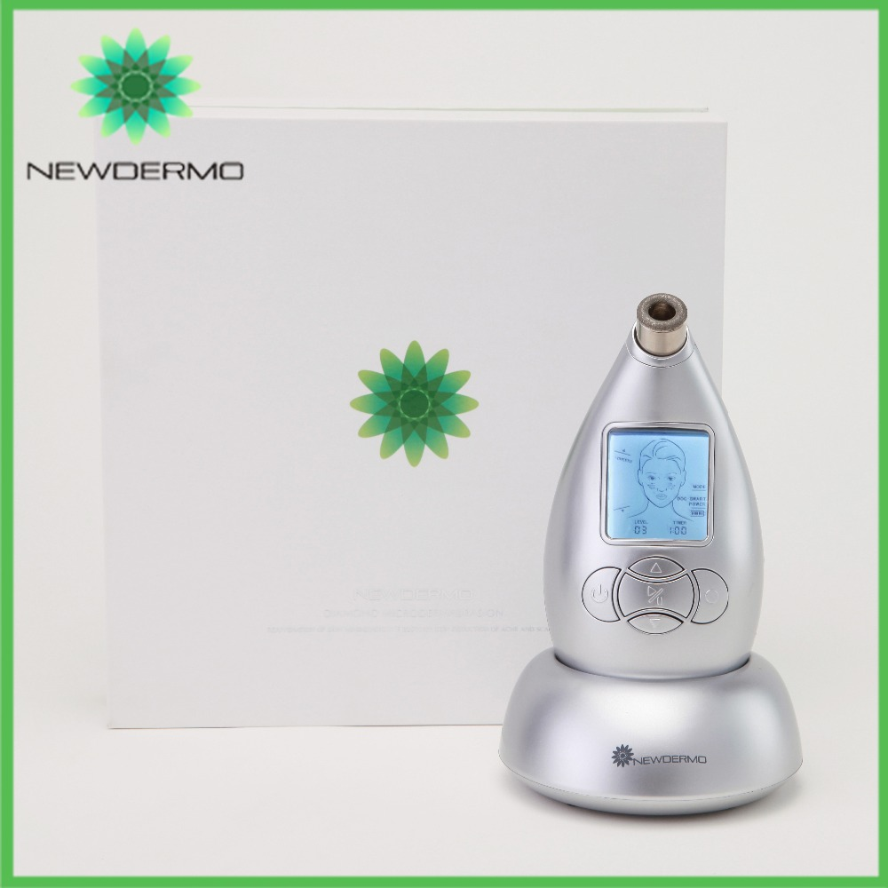 Silver NEWDERMO Power Peel Handheld Skin Dermabrasion Machine For Home Skin Massage Rejuvenation
