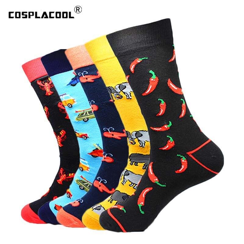 [COSPLACOOL]Men Novelty Funny Socks Cotton Happy Colorful Crew Socks Men Dress Wedding Pug Creative Divertidos Clacetines Hombre