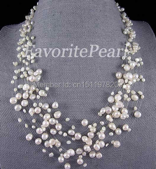 Pearl Necklace Bridesmaid Wedding Jewelry Multistrand Necklace Floating Illusion Genuine Pearl Jewelry 15 Strand 18-22.5inches