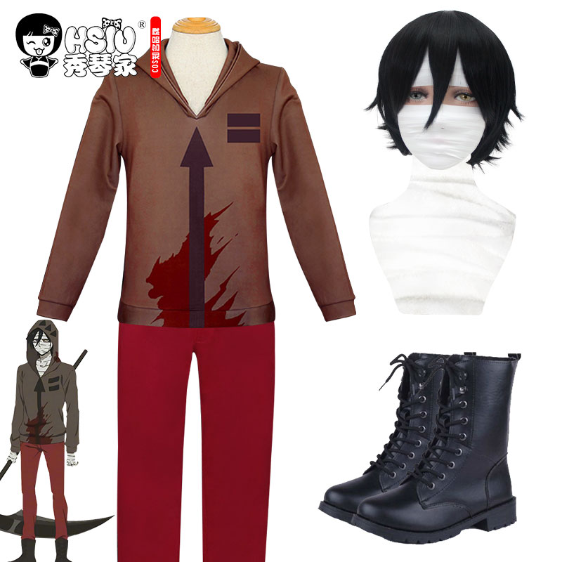 HSIU NEW High Quality Angels Of Death Cosplay Isaac Foster Costume Play Wigs Zack Shoes Hallowee Cosplay Costume Full