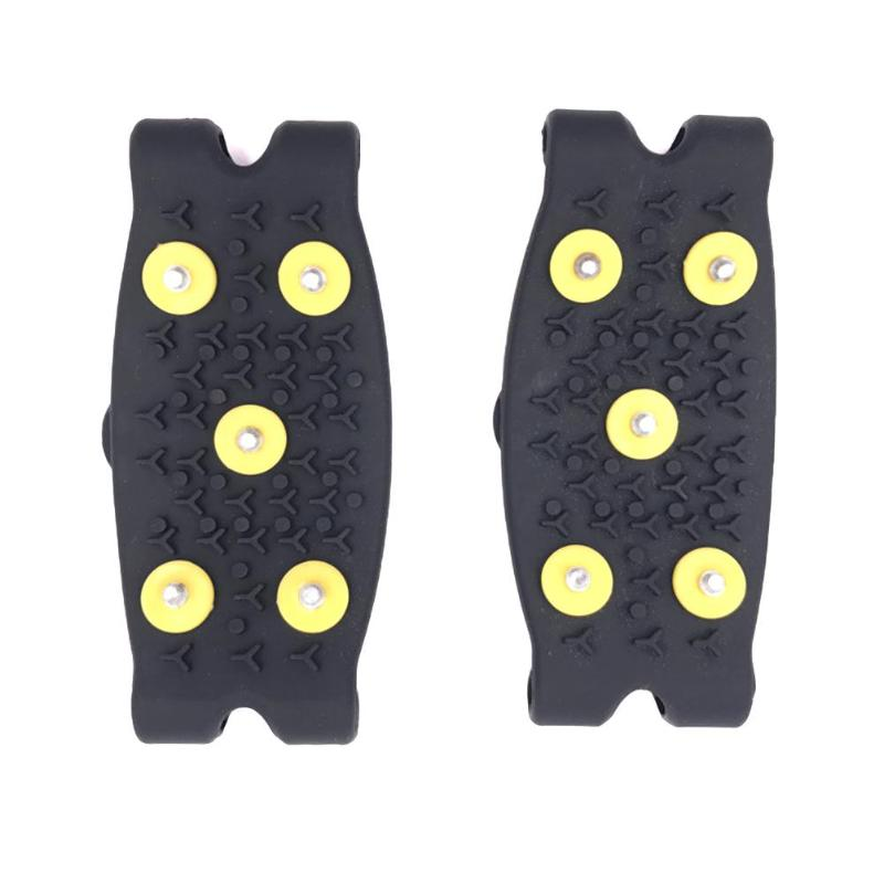 1 Pair 5 Stud Anti Slip Snow Ice Climbing Grips Crampon Cleat Shoes Cover