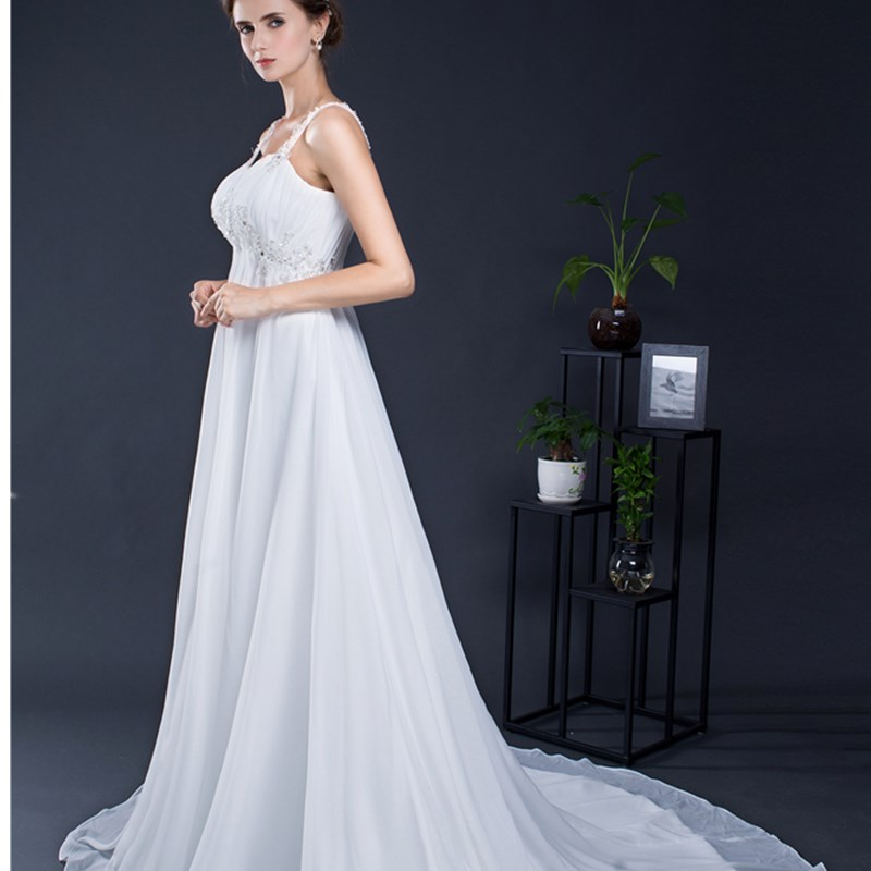 ruthshen Cheap Plus Size Maternity Wedding Dresses 2018 Spaghetti Straps  Appliques Draped Chiffon Pregnant Bridal Gowns-in Wedding Dresses from  Weddings ... 06f9dac3c7e5
