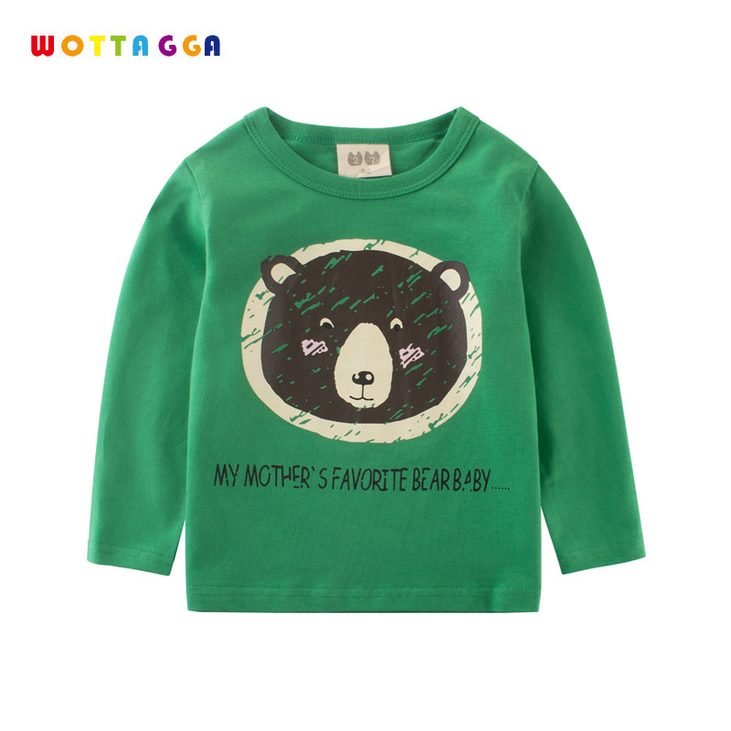 WOTTAGGA 2018 Spring Long Sleeve T Shirt Boys Bear Baby Cartoon My Mothers Favourite Solid Kids Coat Cotton Tee Shirt Long