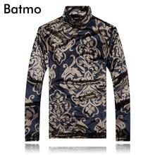 Batmo 2017 new arrival winter autumn turtlenck thick print t shirt men casual men s t