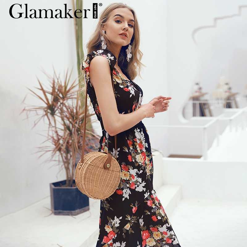 c33f5f2e727 ... Glamaker Sexy deep V neck backless summer dress Women floral print  bohemian maxi dress Hollow out ...