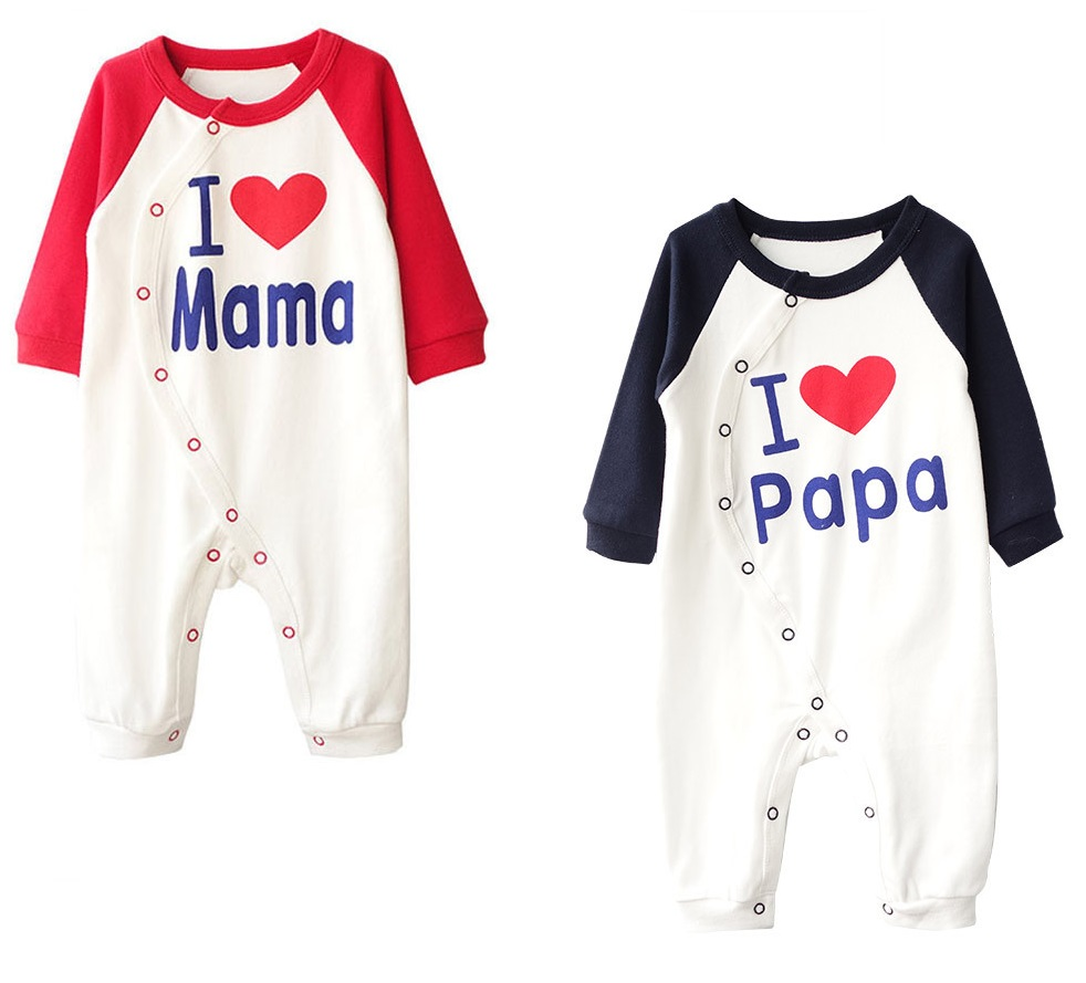 I Lvoe Mama Baba 2pcs Lot Newborn Boy Girl Romper Baby Clothes Cute Infant Sleepwear Winter