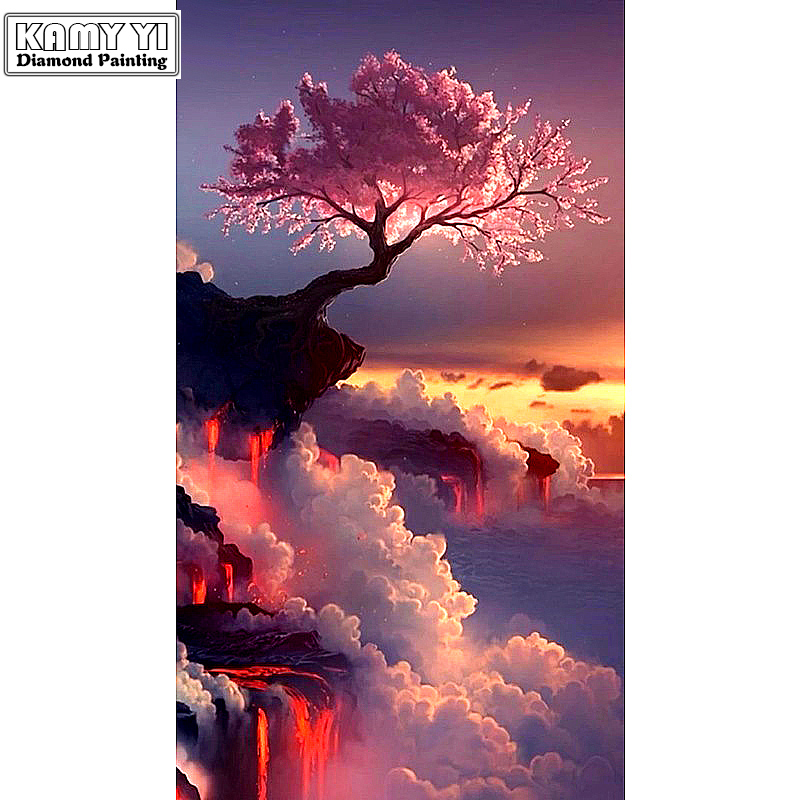 "Full Drill Square Diamond 5D DIY Diamond Painting ""tree in the cloud"" Diamond Embroidery Cross Stitch Rhinestone Mosaic Painting"