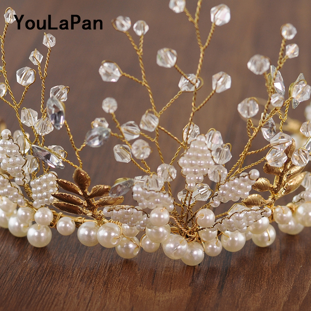 YouLaPan HP196 Wedding Headwear Wedding Tiara Beaded Wedding Hair Accessories Bride Crown Bride Hair Jewelry Wedding Hair Crown in Hair Jewelry from Jewelry Accessories