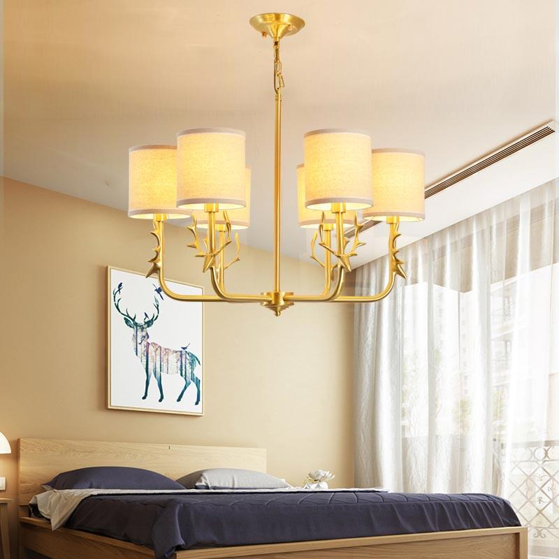 Modern antlers real copper chandelier lighting lustre - Modern lamp shades for living room ...