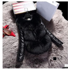 New Arrival Womens Patchwork Sheep Skin Fur Jackets Removable Sleeves Fur Jackets Faux Fur Leather Coats Female Clothes K417