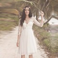 2017 Half Sleeve Summer Styel Beach Bohemian Lace Short Wedding Dress Vestido De Noiva Elegant Boho Beach Bridal Gown