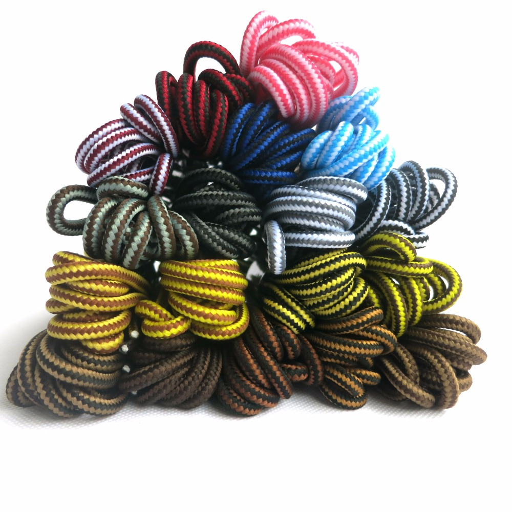 1 Pair Round Striped Sneaker Shoe Laces Strings Hiking Shoelaces for Work Leather Shoes Boots Lacets Cordones Redondos Zapatos