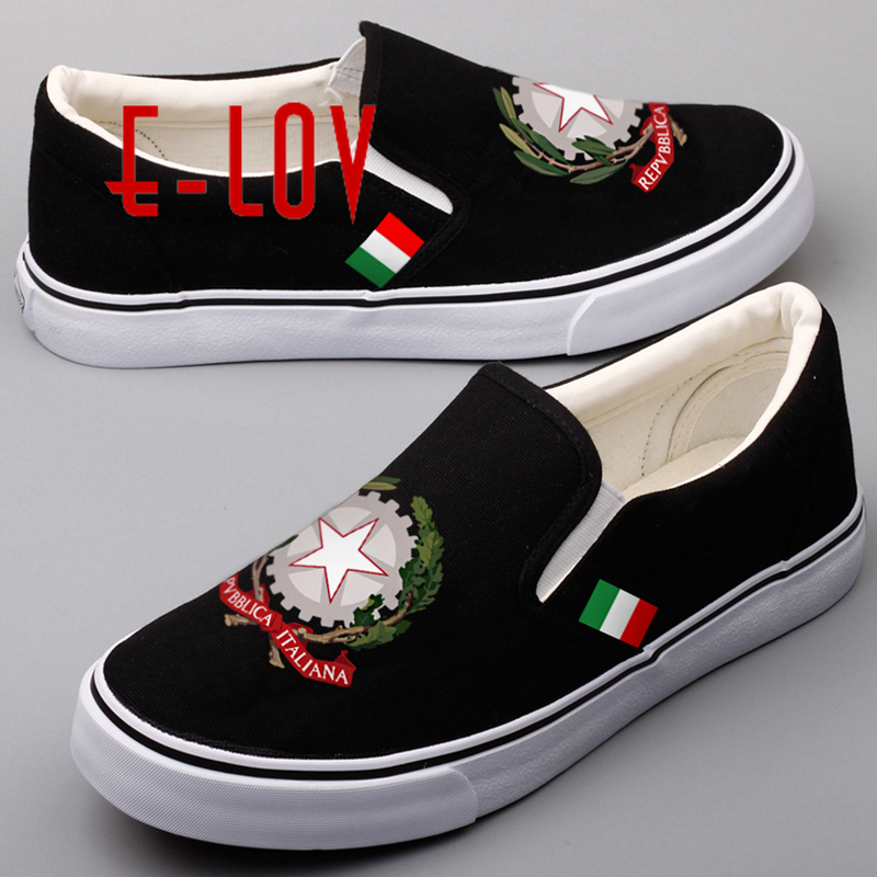 E-LOV Fashion Design Printed Italy National Flags Canvas Shoes Women Custom National Emblem Italian Casual Shoes