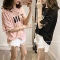 4xl плюс большой размер топы blusas feminina весна лето стиль 2016 новый корейский harajuku женщины printi пояса свободно Футболка женская A0796