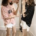 4xl plus big size tops blusas feminina spring summer style 2016 new korean harajuku women printi belt loose T-shirt female A0796