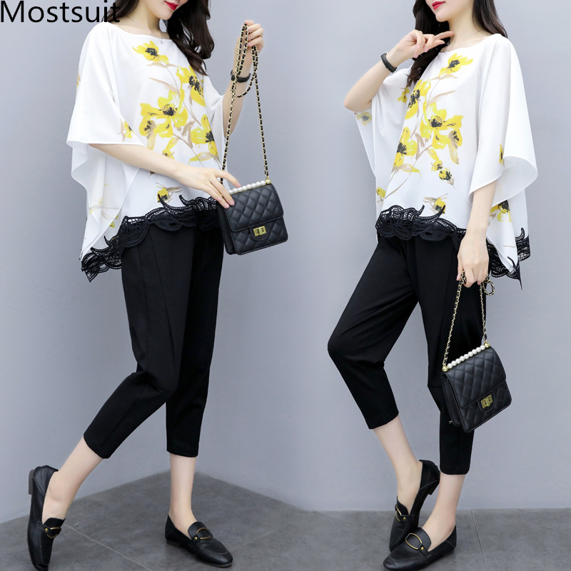 Mostsuit 2019 Summer Two Piece Sets Outfits Women Plus Size Printed 2 Piece Sets