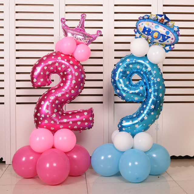 32 inch Pink Blue Number Foil Balloons Digit Ballons Helium Birthday Wedding Decoration Air Ballons Event Party Supplies