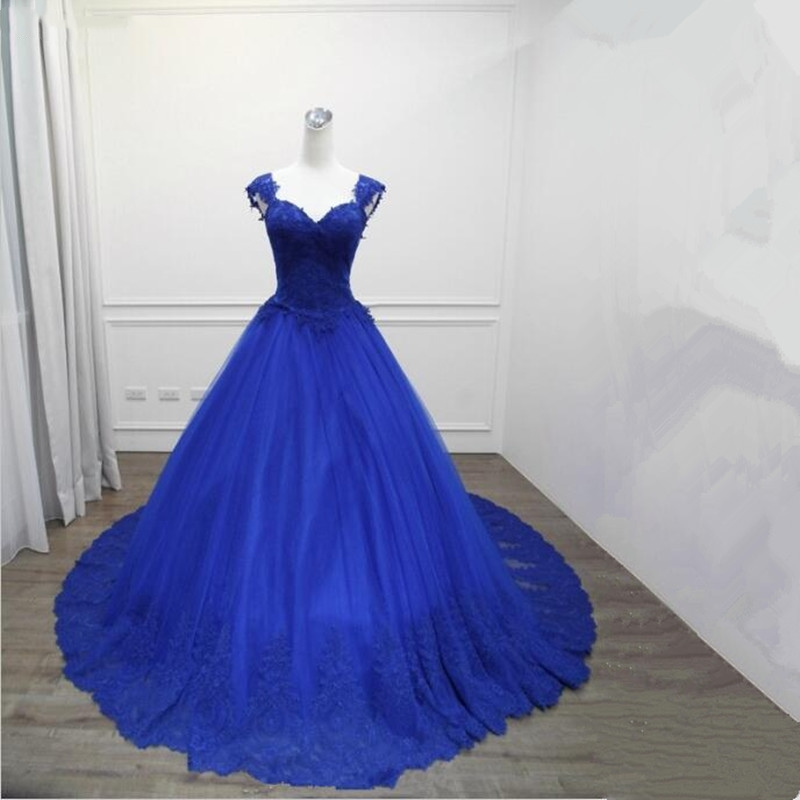 Royal Blue Prom Dresses Long 2018 New Elegant sweetheart Luxury Ball ...