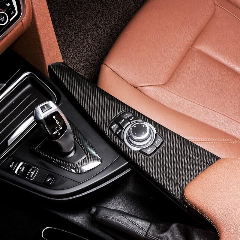 Carbon Fiber Inner Gear Shift Box Cover Trim Interior Stall Decoration Panel Sticker For BMW 3 4 Series 3GT F30 F31 F32 F34 F36