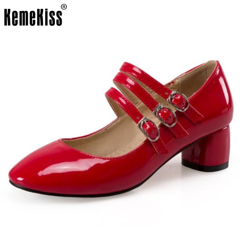 ФОТО Plus Size 33-47 New Spring Fashion Ankle Strap Round Toe Buckle Sexy Square Heels Fashion Shoes Women High Heels Shoes Casual